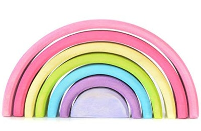 Wooden Rainbow Stacker Montessori Waldorf Stacking Game
