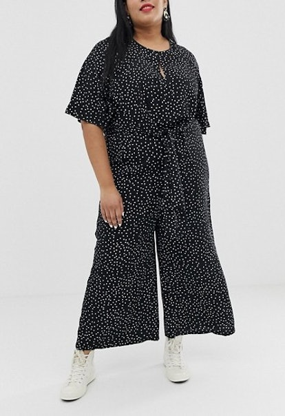Glamorous Relaxed Jumpsuit With Tie Front In Spaced Polka Dot