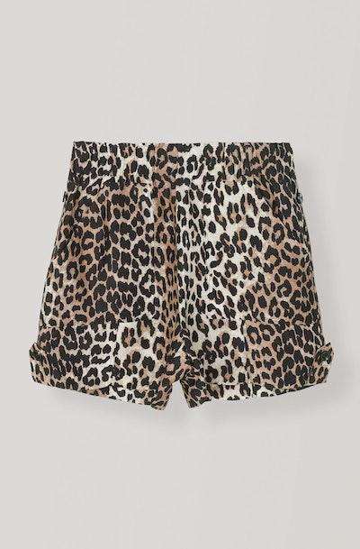 Silk Linen Leopard Shorts