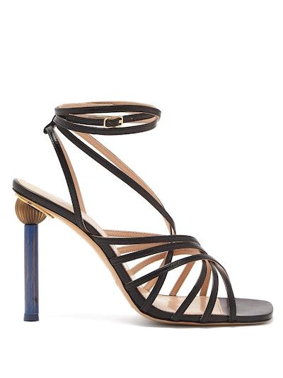 Pisa Mismatched Heel Leather Sandals