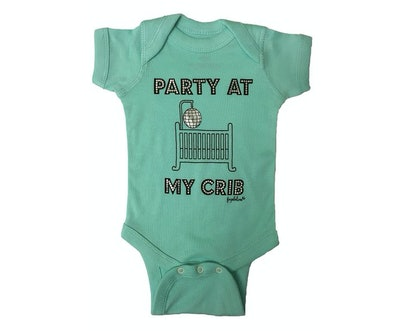 """Faybeline Boutique Quality Onesie """"Party At My Crib"""" Funny Bodysuit (Sizes 0-12 months)"""