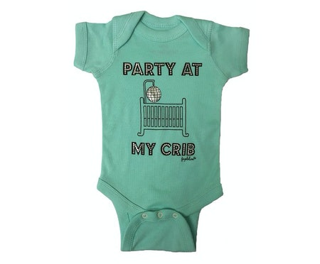 "Faybeline Boutique Quality Onesie ""Party At My Crib"" Funny Bodysuit (Sizes 0-12 months)"