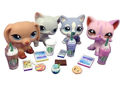LPS Accessories Food Starbucks Littlest Pet Shop 12 pc. Lot Set
