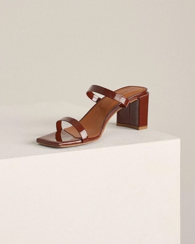 Tanya Brown Patent Leather Sandals