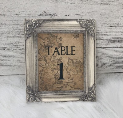 Game Of Thrones - Westeros Map - Wedding Table Number Cards