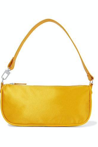 Rachel Leather-Trimmed Silk Shoulder Bag