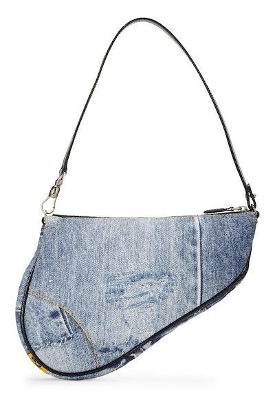 Vintage Denim Tromp L'oeil Mini Saddle Bag