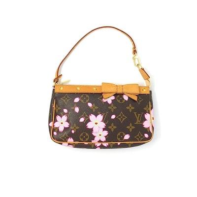 Vintage Cherry Blossom Monogram Shoulder Bag