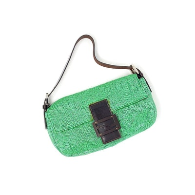 Vintage Green Beaded and Leather Baguette