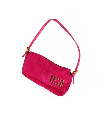 Vintage Pink Suede Shoulder Bag
