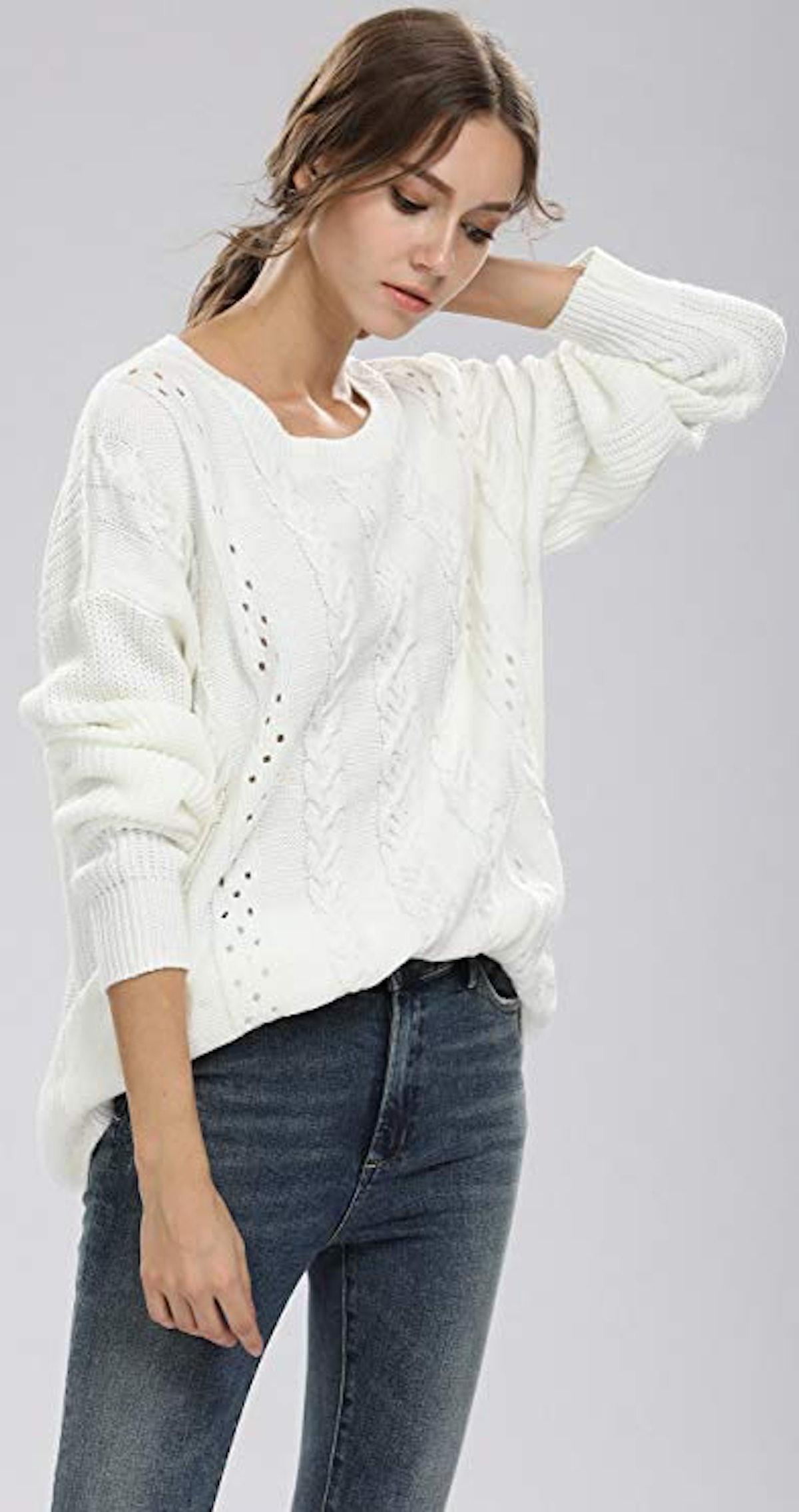 Alinfu Women's Crew Neck Knit Sweater
