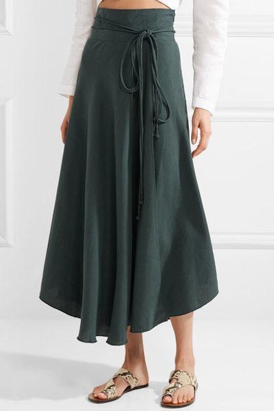 Rosehip Tencel And Linen-Blend Wrap Skirt