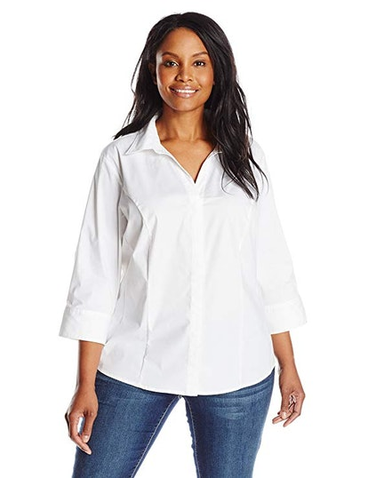 Riders by Lee Indigo Women's Plus Size ¾ Sleeve Woven Shirt
