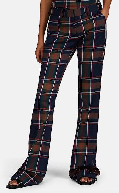 Plaid Twill Flared Trousers
