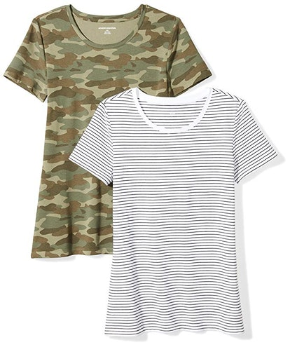 Amazon Essentials Women's Short-Sleeve Crewneck T-Shirts (2 Pack)