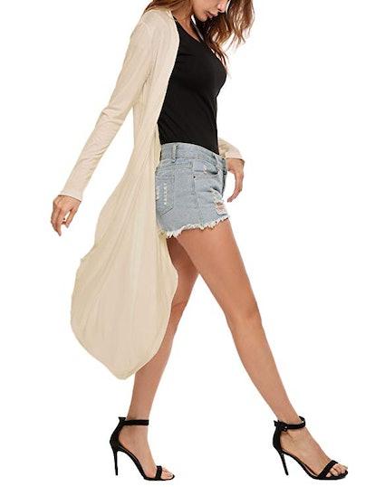 Meaneor Long Open Front Drape Asymmetric Long Sleeve Cardigan