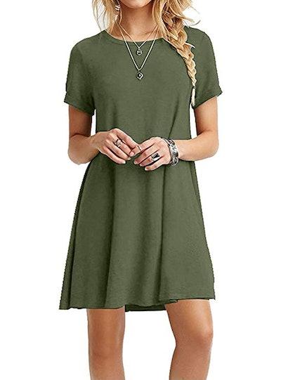 MOLERANI Casual Plain Simple T-Shirt Loose Dress