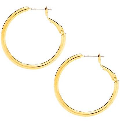 Medium Hoop Earrings, 24K Gold Over Bronze