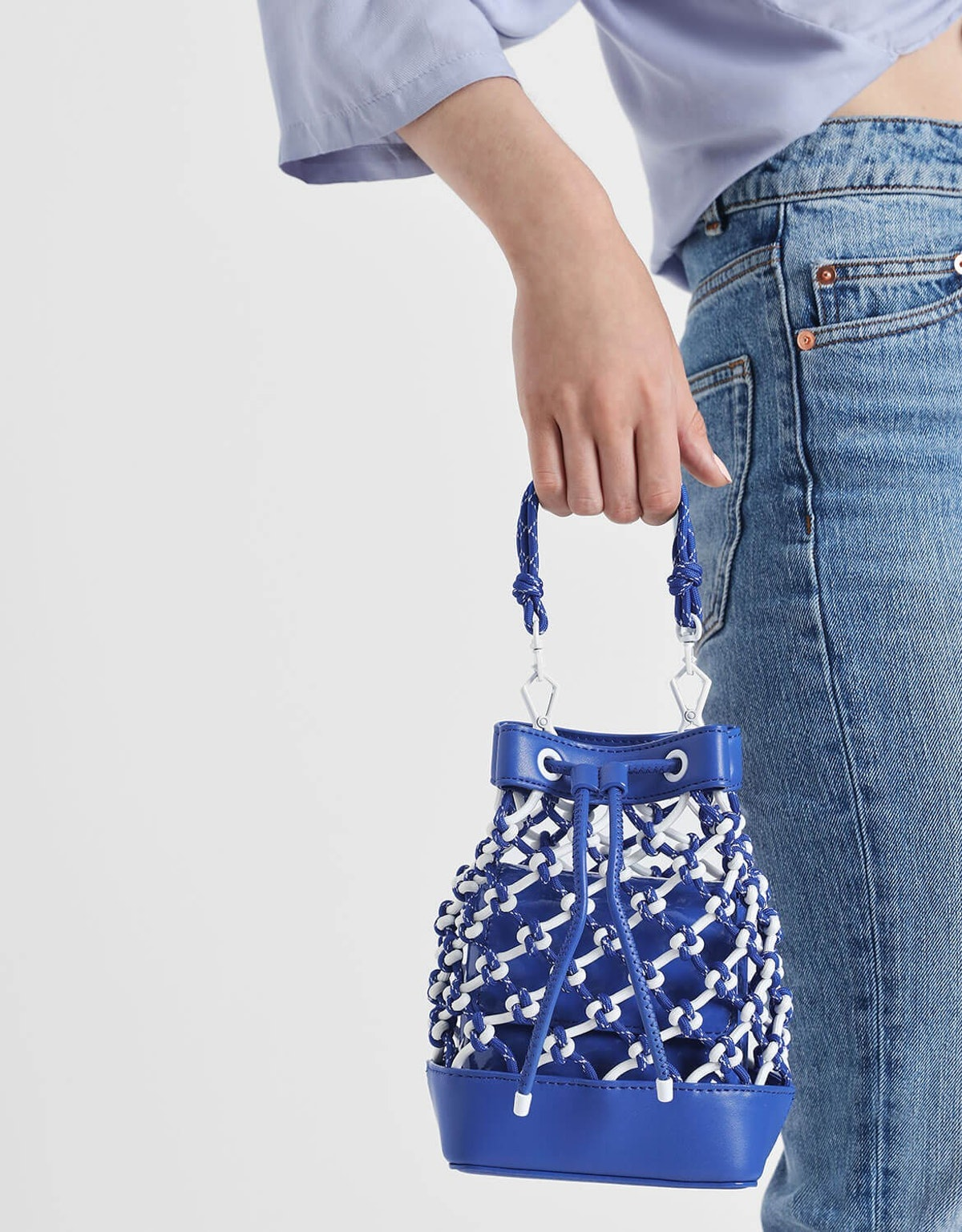 Netted Drawstring Bucket Bag
