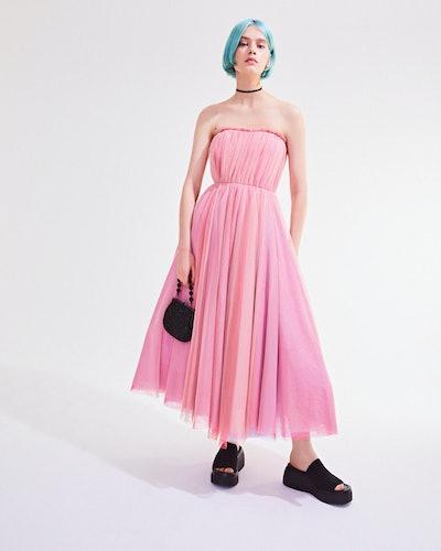 Prom Queen Strapless Chiffon Midi Dress