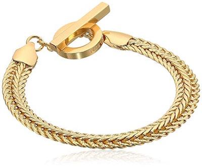 Anne Klein Classics Gold Tone Flat Chain Flex Bracelet