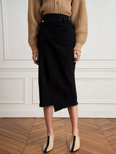 Black Cross Over Denim Skirt