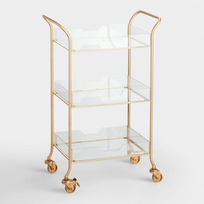 Gold Metal And Clear Acrylic Emerson Rolling Cart