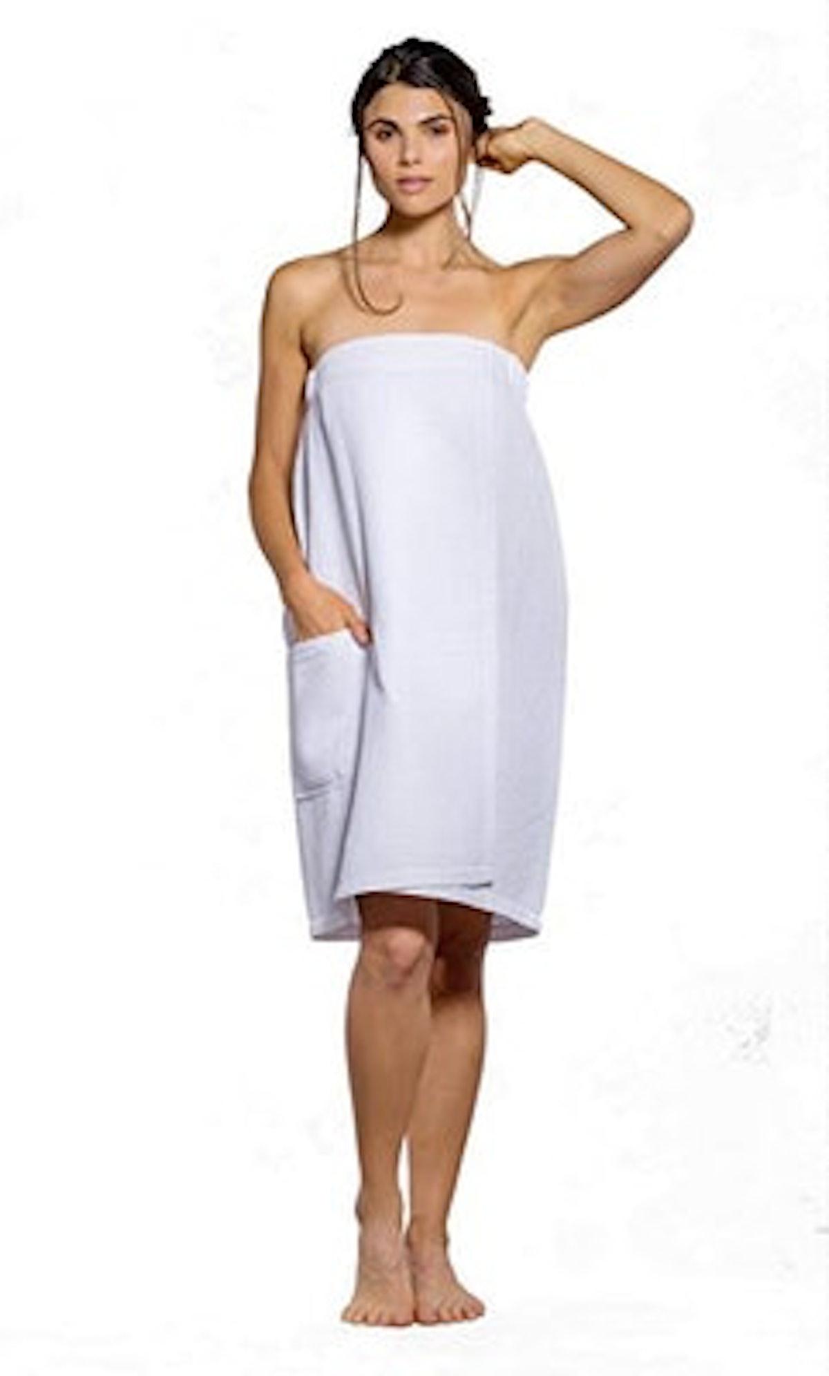 Turquaz Linen Lightweight Knee Length Spa/Bath Waffle Body Wrap