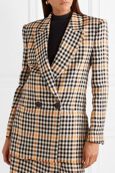 Jina Checked Linen Blazer