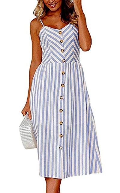 Angashion Summer Midi Dress with Pockets