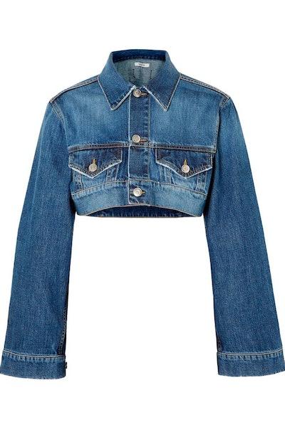 Ganni Cropped Faded Denim Jacket