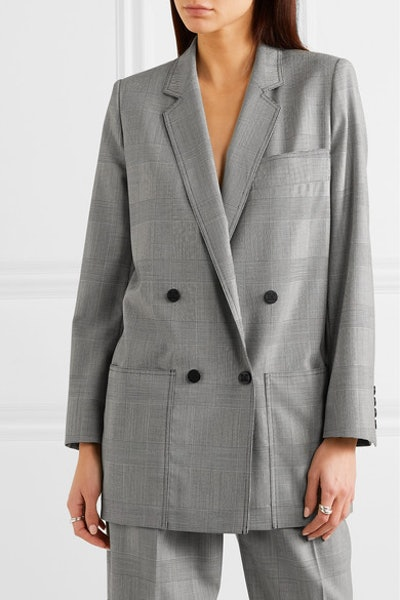 Oxford Oversized Double-Breasted Prince of Wales Checked Blazer