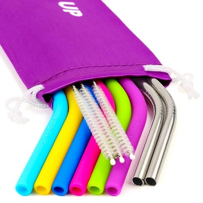 Silicone And Stainless Steel Straw Bundle