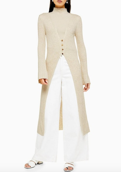 Knitted Open Longline Cardigan With Linen