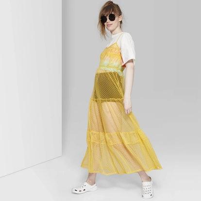 Women's Sleeveless Strappy V-Neck Mesh Tiered Sheer Maxi Dress