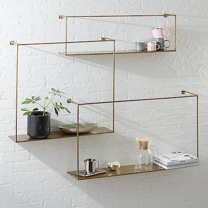 Antiqued Brass Large Floating Shelves (Set of 3)