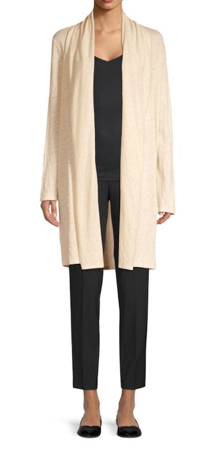 Longline Linen Open Cardigan