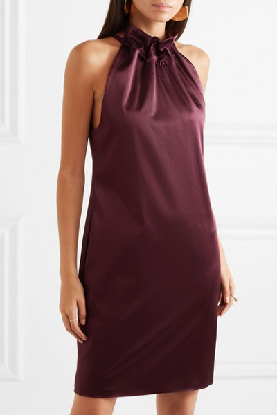 Ruched Satin Mini Dress