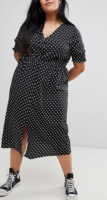 Influence Shirred Sleeve Polka Dot Midi Dress