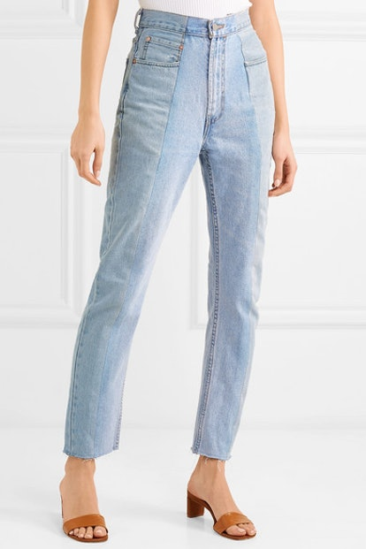 The Twin Two-Tone High-Rise Straight-Leg Jeans