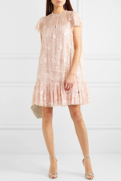 Ashley Embroidered Tulle Mini Dress
