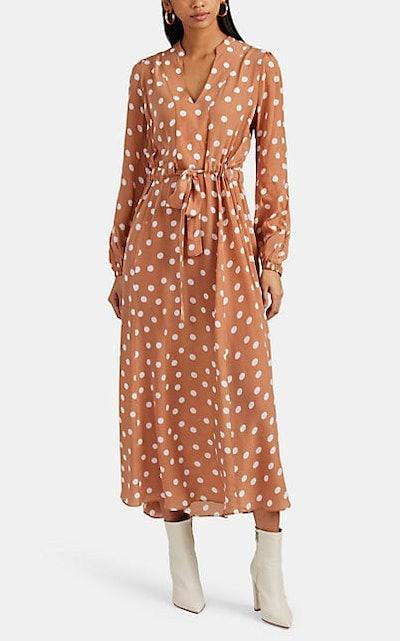 Polka Dot Georgette Tie-Waist Maxi Dress