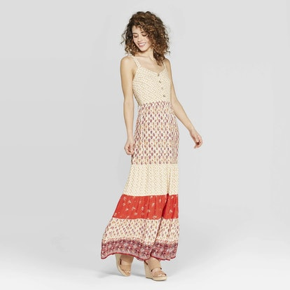 Women's Printed V-Neck Strappy Button Front Tiered Maxi Dress