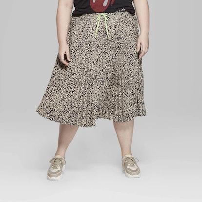 Women's Plus Size Leopard Print Pleated Midi Skirt