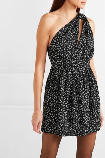 Saint Laurent One-Shoulder Printed Crepe Mini Dress