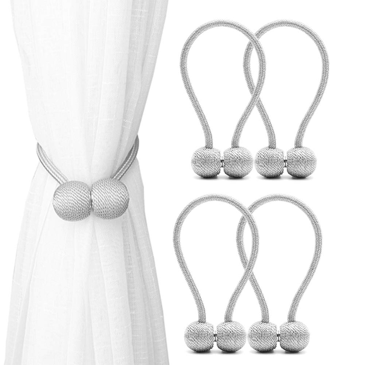 DEZENE Magnetic Curtain Tiebacks (4-Pack)