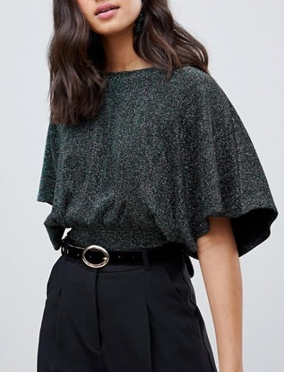 Miss Selfridge Backless Top With Angel Sleeves In Green Glitter