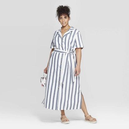 Women's Plus Size Striped Short Sleeve Linen Shirtdress