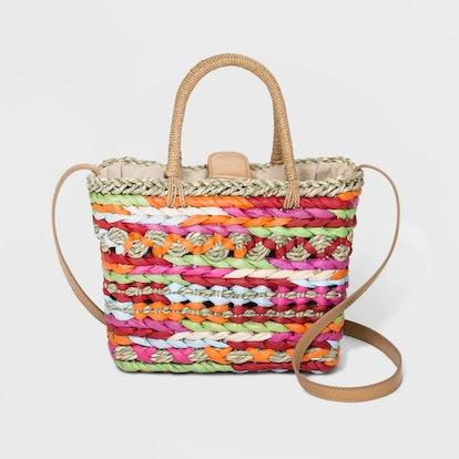 Straw Multi Colored Box Crossbody Bag