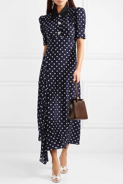 Crystal-Embellished Polka-Dot Silk-Georgette Maxi Dress
